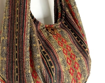 Handmade Woven Bag Handbags Purse Tote Thai Cotton Bag Hippie bag Hobo bag Boho bag Shoulder bag Women bag Everyday bag Short Strap (WF6)