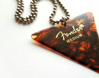 Fender Guitar Pick Necklace with Stainless Steel Ball Chain