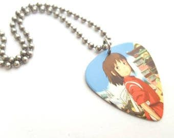 Spirited Away Guitar Pick Necklace with Stainless Steel Ball Chain - animation