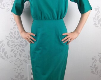 VINTAGE GREEN DRESS 1950's Pockets Buttons Size Extra Small