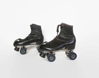 Vintage 60s Men's ROLLERSKATES  / 1960s RIEDELL Black Leather Sure Grip Skates 10
