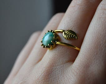 Amazonite ring gold leaf ring, amazonite jewelry, green leaf ring