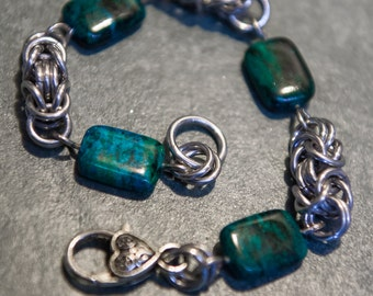 Byzantine Chain Maille Bracelet with Chrysocolla Beads and Silver Heart Clasp
