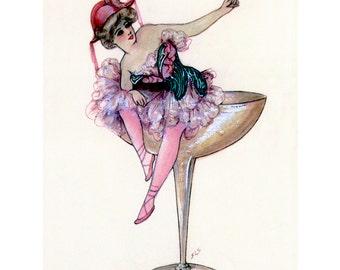 Woman with Champagne Fabric - Samuel Schmucker Repro - Vintage Style Ballerina Fabric Block