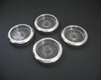 Vintage Silver Rim Coasters, Glass Coasters, Mid Century, Silverplate Italy, Mid Century Barware, Starburst, MadMen, Made In Italy