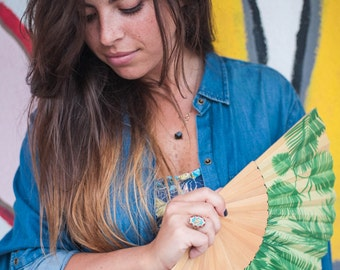 Folding HAND FAN | green palm leaf print with blue butterfly | natural wood ribs | Free Shipping Worldwide