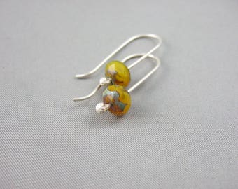 Quince Yellow Faceted Czech Glass and Sterling Silver Earrings