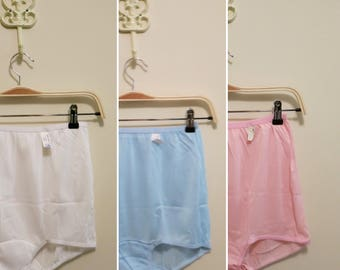 Pinup Panties NOS blue pink white panty set vintage fantasy lingerie 1960s XL