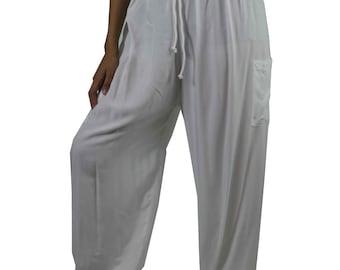Unisex Harem pants Hippies pants Gypsy Pants Hippie Pants Yoga Pants Aladdin Pants Rayon Pants Genie Pants Trouser one size fits black