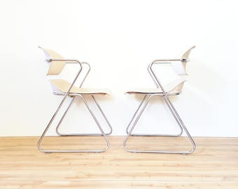 Pair Of Mid-Century Modern Stacking Chairs by Hugh Acton ~ Vintage Chrome Stacking Chairs / Stool/ Task / Work Chair / Office Chair ~ Beige