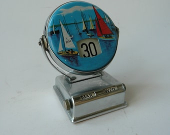 Vintage collectable retro midcentury desk calendar made in Japan featuring sailing boats yachts
