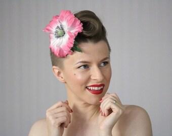 "Large Pink Fascinator, Flower Hair Clip, 1950s Headpiece, Derby Hair Accessory, Vintage Floral Clip, Pink Flower White  - ""Bubblegum Punch"""