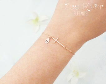 Personalized cross bracelet. Choose rose gold, silver or gold cross bracelet. Personalized initial and cross bracelet. Dainty cross bracelet
