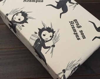 Krampus wrapping paper, creepy Christmas gift wrap, quirky, weird, rustic wrapping paper, Krampusnacht, Creepmas