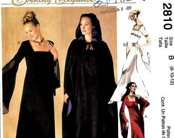 Renaissance Style Evening Dress Hooded Cape Pattern Empire Waist Square Neckline Bell Sleeves Size 8 10 12 McCalls 2810 Sewing Pattern Uncut