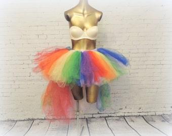 Rainbow high low Tutu, adult Gay Pride tutu,edc  love rainbow high low tutu rave tutu, edc edm plur raver tutu, Somewhere over the rainbow