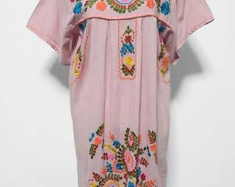 Hand Embroidered Dress Cottton Mini Dress, Boho Dress