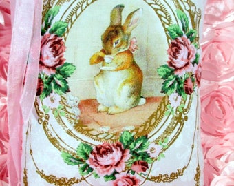 PETER RABBIT Pillow, Bunny Pillow, Pink Roses Pillow, Rabbit Pillow, SHABBY Bunny Pillow!!!