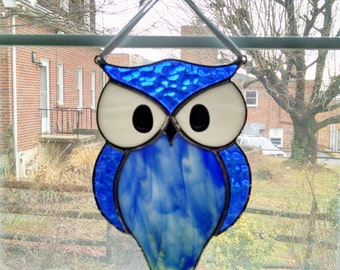 Owl Stained Glass Suncatcher - Blue Glass Owl - Bird Ornament - Window Decor - Nature Decor - Housewarming Gift - Birthday Gift