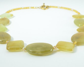 Green and amber - Necklace of rainbow soocho jade with topaz Czech beads