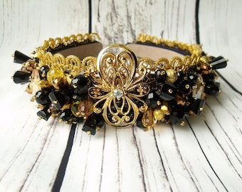 Beaded Dolce and Gabbana headband, diadem, beaded tiara, Crown