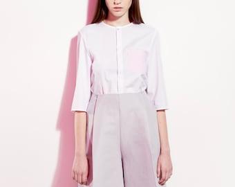 White Cotton Shirt / White Shirt / Minimalist Blouse / White&Pink Shirt / Women's Shirt / Button up Shirt / Office Blouse