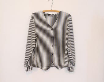 Black and White Striped Blouse - Late 80s/ Early 90s