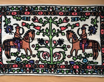 Handmade Tapestry Type 29in by 17in Vintage Colorful Knights Charging fun art for framing hanging pillow frontMedieval theme Tree of Life