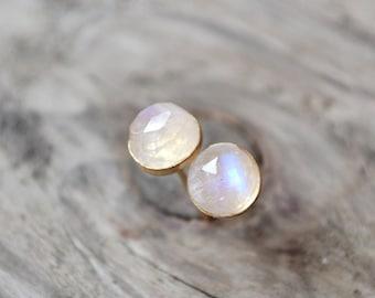 rainbow moonstones stud earrings  ///  6mm rose cut moonstones set in 14k gold fill /// june birthstone