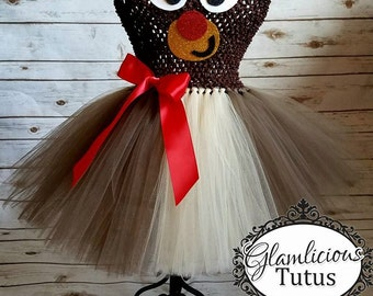Rudolph dress| Reindeer dress| Holiday tutu dress| Christmas tutu dress | Newborn- size 8 child listing!