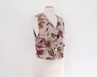 floral vest vintage linen vest women 90s clothing linen clothing womens vests