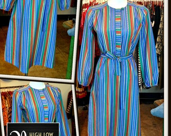 Vintage Blue Green Red Stripe Poly Dress FREE SHIPPING