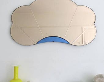 Vintage Art Deco Mirror Fan Shape Colored Glass