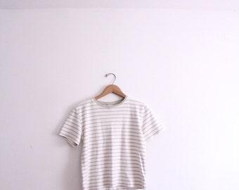 Basic Tan Striped 90s Tee