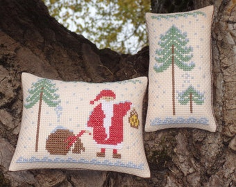 2 PDF primitive christmas cross stitch patterns: Lost Santa