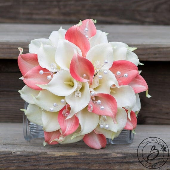 Wedding Bouquet Coral Cream Real Touch Calla Lily Silk Rose: Calla Lily Wedding Bouquet Calla Lilly Bouquet Coral And