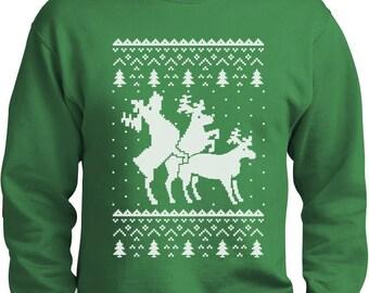 Ugly Christmas Party Sweater Humping Reindeer Men's Crewneck Sweatshirt