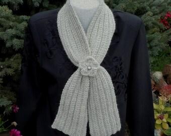 Baby Alpaca Keyhole Scarf Silver Grey - Hand Knit Raised Rib Design with Flower & Pearl Button