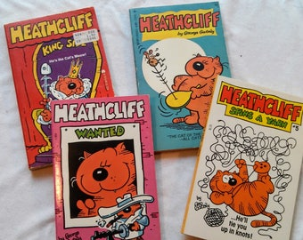 Vintage Lot of Four 70's & 80's Heathcliff Paperbacks by George Gately.