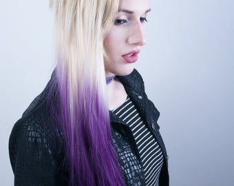 PennyWigs Blonde Ombre Purple Dip Dyed Straight Clip-In Hair Extensions 7 pieces Pastel Goth Lavender Layered Fade Realistic Natural Faux