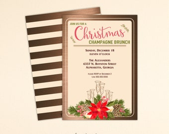 Christmas Brunch Invitation, Holiday Party, Open House, Luncheon, Cocktail Party, Holiday Birthday Party, Corporate Christmas Invite C13015