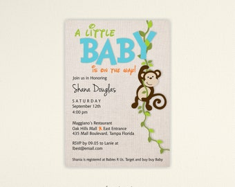 Monkey Baby Shower Invitation, Baby Shower Invitation, Jungle Baby Shower Invite, Kids Birthday Invite, digital, printable, invite, B1462