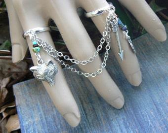 wolf rings woodland rings tribal rings elfin rings double rings fox rings slave rings statement rings in boho festival hippie gypsy