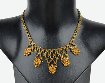 1930s Vintage Art Deco Necklace with Amber Crystal Flower Drops