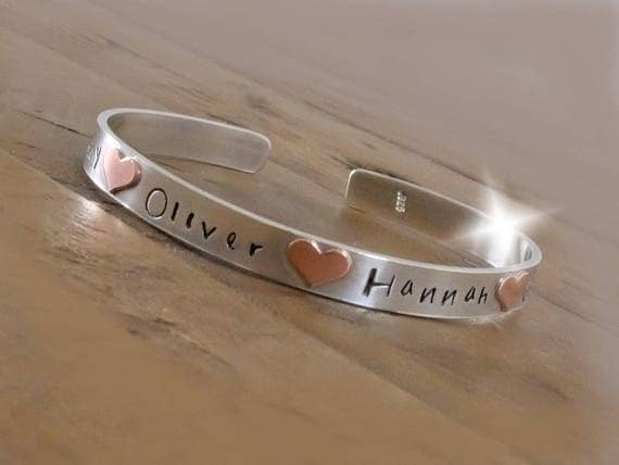 Bangle with Childrens Names, Personalised Bangle with Names, Childrens Names Bangle, Silver and Copper Bangle. 7th Anniversary Gift