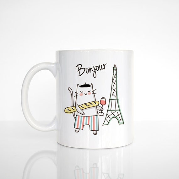 Bonjour Paris Cat Mug, French Cat Coffee Mug, Paris Mug, Wine Mug, Cat Cup, Cat Coffee Cup, Funny Mug, Cute Mug, Cat Lover Gift, Office Mug