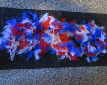 Patriotic,red white & blue Feather mini boa,4 ft,25 gm,July 4th costume trim,crafts,sewing,Fourth of July,natural sculpted feathers,