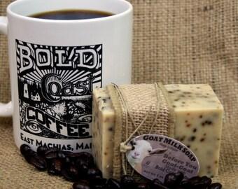 Goat Morning Goat Milk Soap. Coffee Hand Soap. Coffee Grounds Goat Milk Soap. Bold Coast Coffee Soap. Caffeinated Goat Milk Soap.