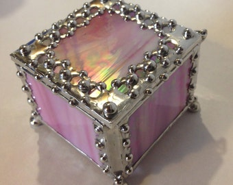 Iridescent Pink, Stained Glass, Ring Box, with Metal Lace Edge / Trinket Box / Pink Jewelry Box