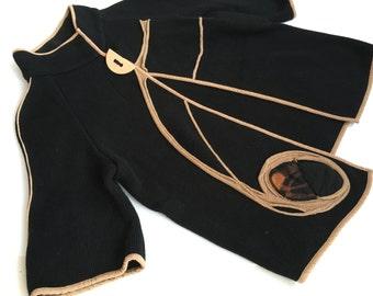 Sammer Berlin jacket Black brown jacket Black jacket with brown appliqes Design jacket